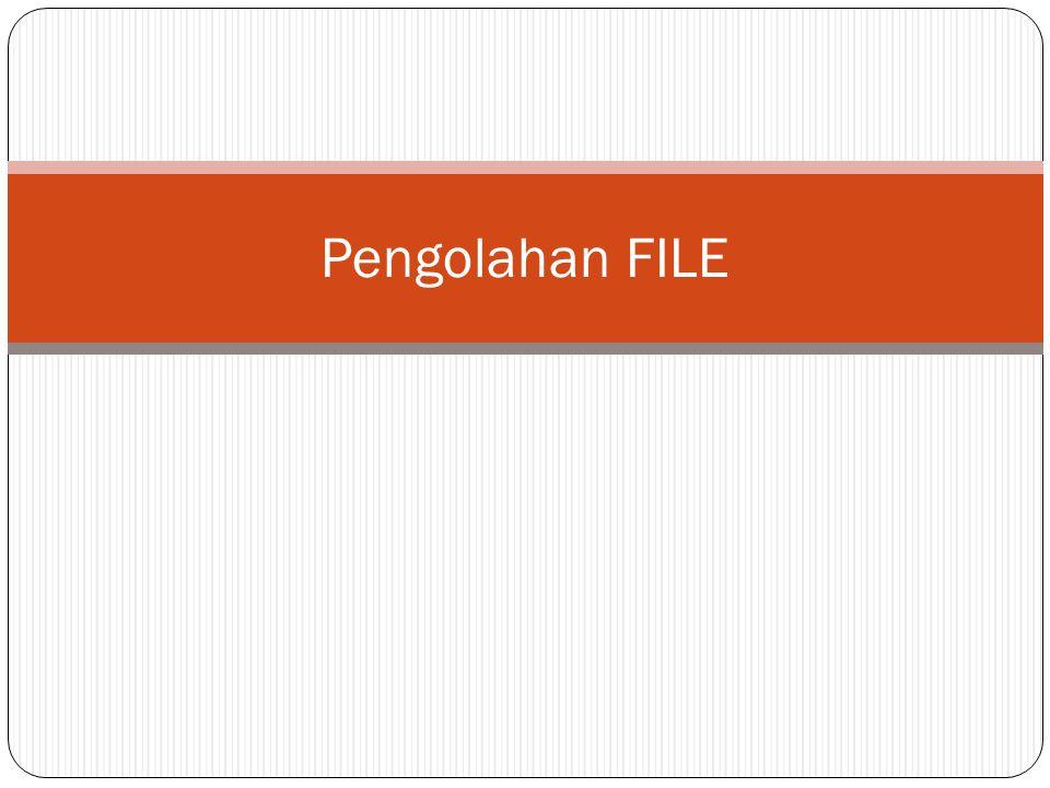 Membuka File  Sintak :  Open Nama_File For {Status} As #{n}  Dimana:  Nama_File : nama file lengkap dengan nama foldernya.