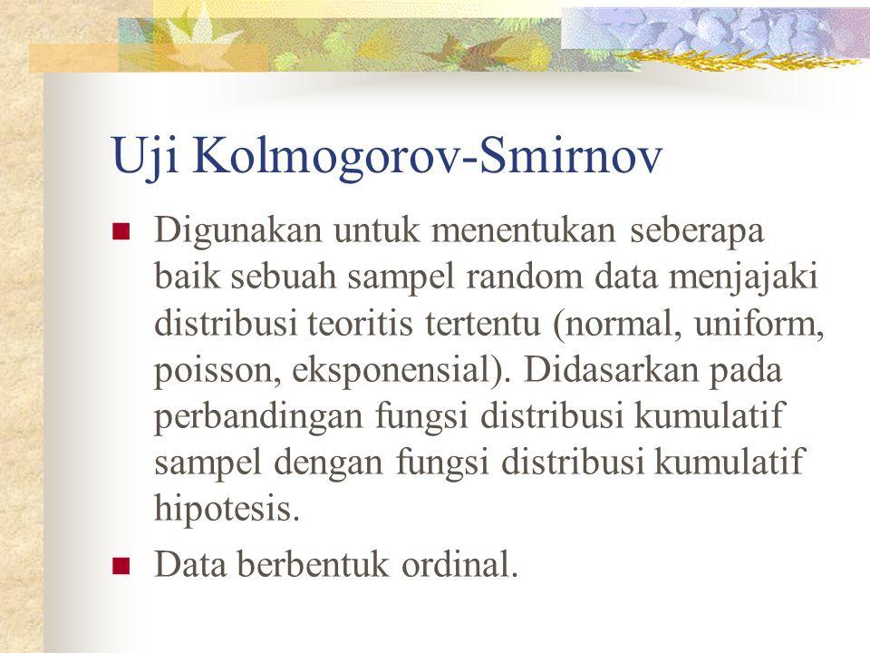 Uji Kolmogorov-Smirnov  Digunakan untuk menentukan seberapa baik sebuah sampel random data menjajaki distribusi teoritis tertentu (normal, uniform, p