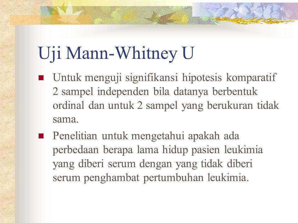 Uji Mann-Whitney U  Untuk menguji signifikansi hipotesis komparatif 2 sampel independen bila datanya berbentuk ordinal dan untuk 2 sampel yang beruku