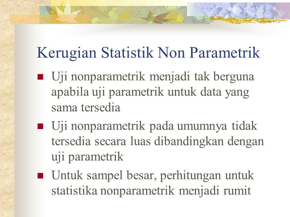 Penggunaan Non Parametrik TESPENGGUNAANFUNGSI Chi Square Menggunakan data nominal untuk menguji independensi satu sampel atau dua sampel atau lebih dari 2 sampel Tes independensi variabel Codran Q Untuk menguji hubungan lebih dari 2 sampel pada skala nominal Membantu pada data yang memberikan jawaban 2 kategori Uji Tanda Untuk menguji hubungan 2 sampel pada skala ordinal Tes yang baik untuk data berjenjang (rangking) Uji median - Pada satu sampel untuk melihat randomisasi pada data dari populasi - untuk menguji independensi lebih dari 2 sampel pada skala ordinal - Untuk melihat kesimetrisan distribusi - Tes independensi variabel Uji Mann-Whitney U Untuk menguji independensi 2 sampel pada skala ordinal Analog pada independensi 2 sampel t- Test Uji Kruskal- Wallis Untuk menguji independensi lebih dari 2 sampel pada skala ordinal Alternatif dari uji One-Way ANOVA di mana asumsi distribusi normal tidak digunakan Uji Fiedman Uji menguji hubungan lebih dari 2 sampel pada skala ordinal Alternatif dari uji Two-Way ANOVA dimana asumsi distribusi normal tidak digunakan Uji Kolmogorov- Smirnov Untuk menguji independensi dari satu sampel atau 2 sampel pada skala ordinal.