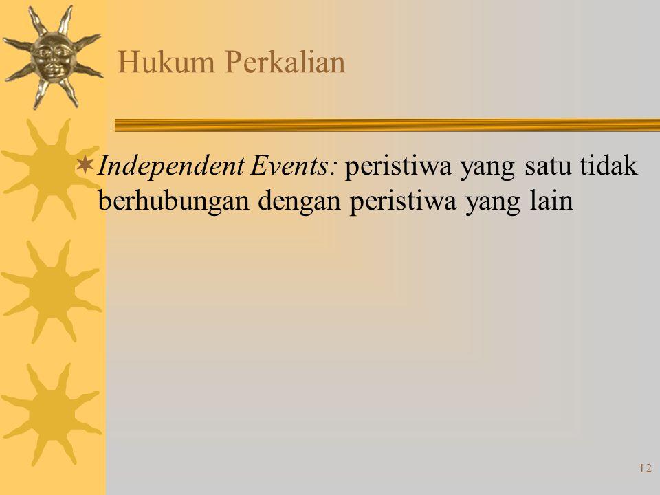 12 Hukum Perkalian  Independent Events: peristiwa yang satu tidak berhubungan dengan peristiwa yang lain
