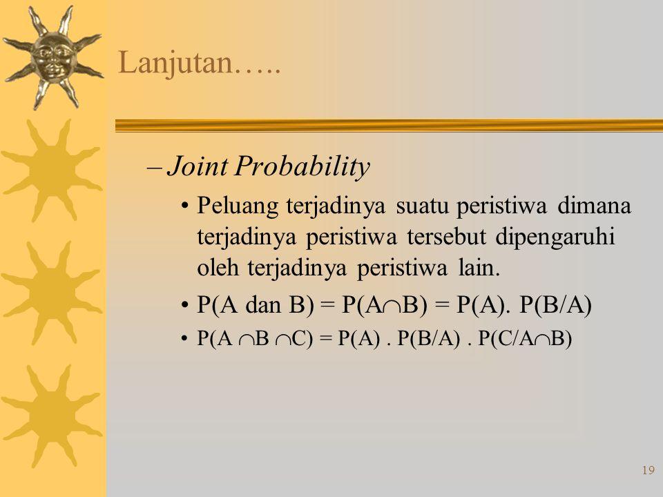 19 Lanjutan….. –Joint Probability •Peluang terjadinya suatu peristiwa dimana terjadinya peristiwa tersebut dipengaruhi oleh terjadinya peristiwa lain.