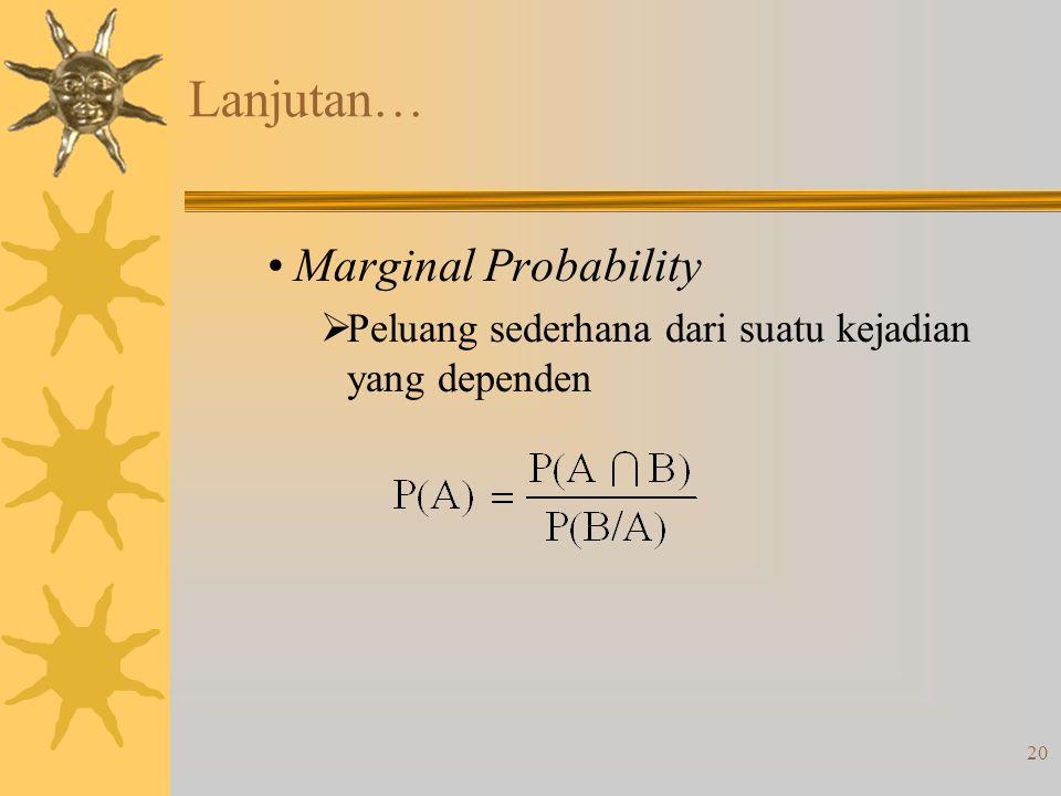 20 Lanjutan… •Marginal Probability  Peluang sederhana dari suatu kejadian yang dependen
