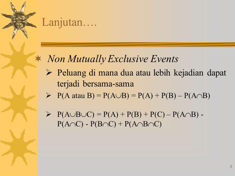 8 Lanjutan….  Non Mutually Exclusive Events  Peluang di mana dua atau lebih kejadian dapat terjadi bersama-sama  P(A atau B) = P(A  B) = P(A) + P(