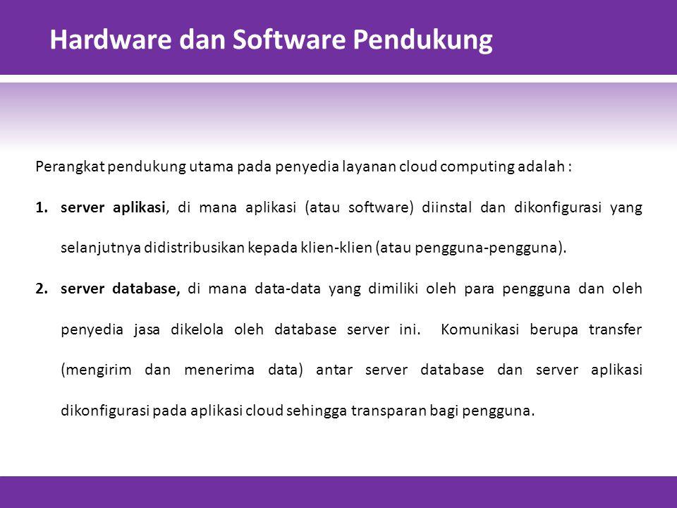 Hardware dan Software Pendukung Perangkat pendukung utama pada penyedia layanan cloud computing adalah : 1.server aplikasi, di mana aplikasi (atau software) diinstal dan dikonfigurasi yang selanjutnya didistribusikan kepada klien-klien (atau pengguna-pengguna).