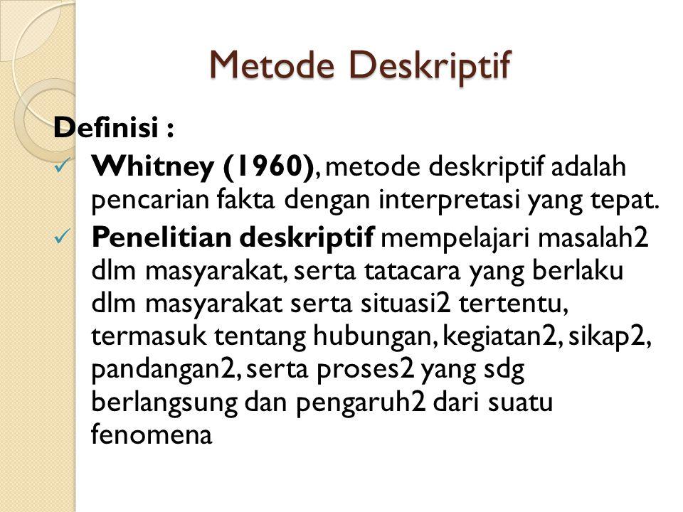 Metode Deskriptif Definisi :  Whitney (1960), metode deskriptif adalah pencarian fakta dengan interpretasi yang tepat.  Penelitian deskriptif mempel