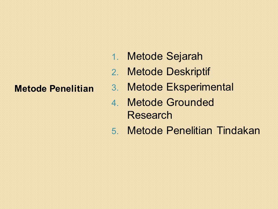 Metode Penelitian 1. Metode Sejarah 2. Metode Deskriptif 3. Metode Eksperimental 4. Metode Grounded Research 5. Metode Penelitian Tindakan