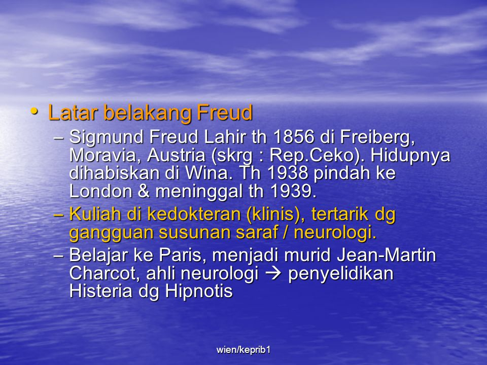 –Dalam buku Penafsiran atas Mimpi (1900) psikoanalisnya sudah mulai terbentuk. –Sebelum itu, beberapa pendekatan baru dalam mengobati pasien neurosis
