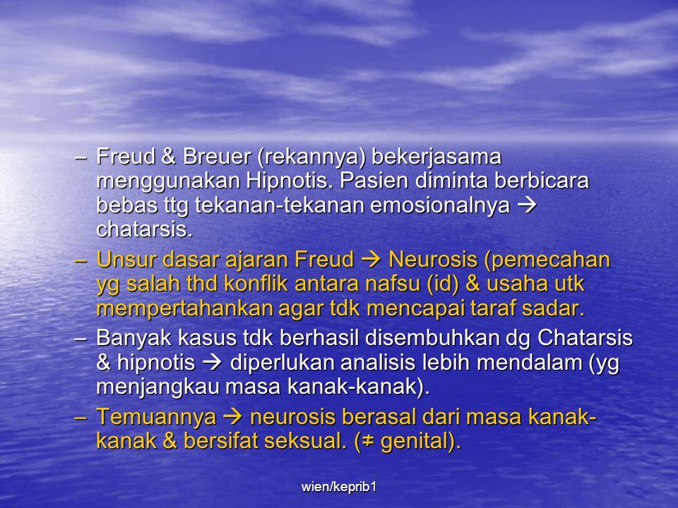 • Latar belakang Freud –Sigmund Freud Lahir th 1856 di Freiberg, Moravia, Austria (skrg : Rep.Ceko). Hidupnya dihabiskan di Wina. Th 1938 pindah ke Lo