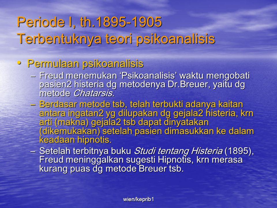 Garis Besar Pemikiran Freud • Untuk memudahkan memahami teori Freud, pembahasan dibagi ke dalam 3 periode, yaitu : –Periode I (1895-1905) Terbentuknya