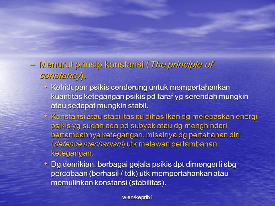 • Freud juga mengemukakan 3 prinsip mendasar yg mengatur & menguasai semua proses psikis, yaitu prinsip konstansi (the principle of constancy), prinsi