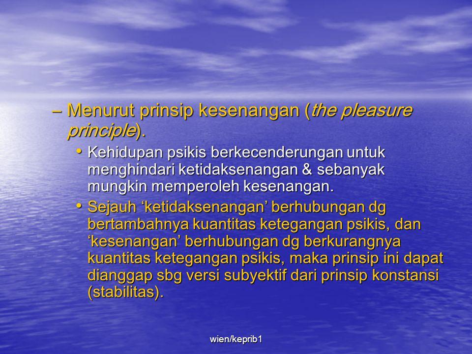 –Menurut prinsip konstansi (The principle of constancy). • Kehidupan psikis cenderung untuk mempertahankan kuantitas ketegangan psikis pd taraf yg ser
