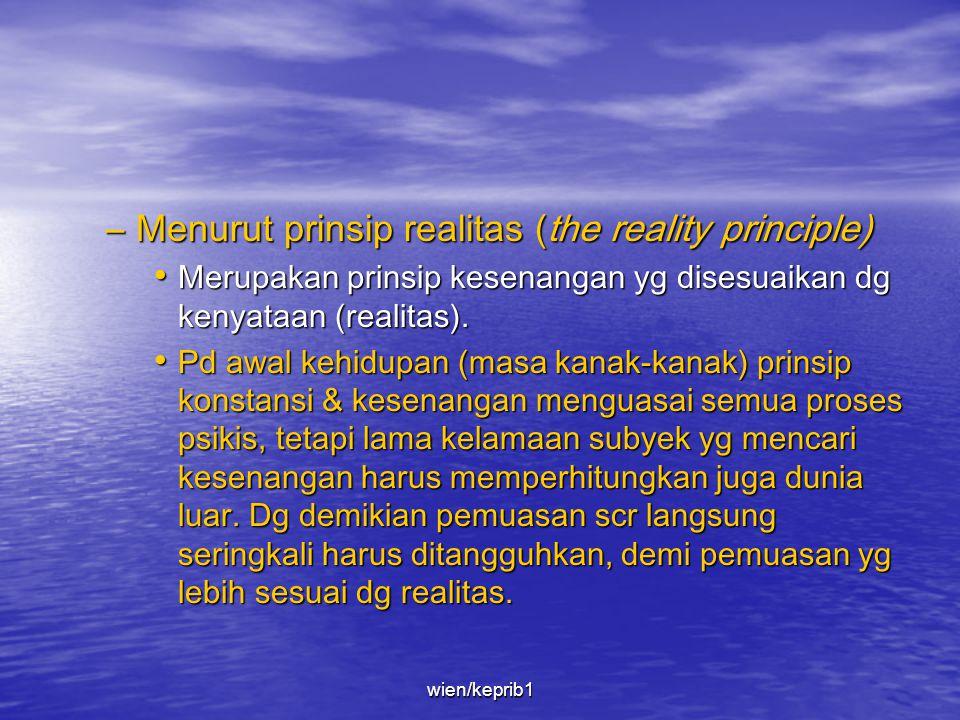 –Menurut prinsip kesenangan (the pleasure principle). • Kehidupan psikis berkecenderungan untuk menghindari ketidaksenangan & sebanyak mungkin mempero