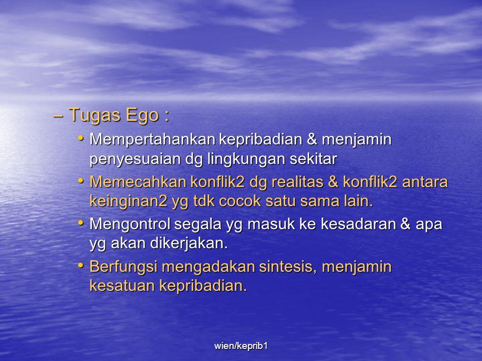 • Ego –Ego terbentuk dg diferensiasi dari 'Id' krn kontaknya dg dunia luar, khususnya orang di sekitar bayi yaitu orangtua, pengasuh & kakak adik, dll