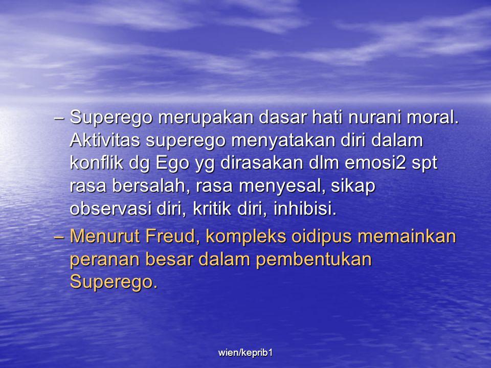 • Superego –Dibentuk melalui internalisasi berupa larangan2 atau perintah2 yg berasal dari luar (pengasuh, khususnya orang tua), diolah sedemikian rup