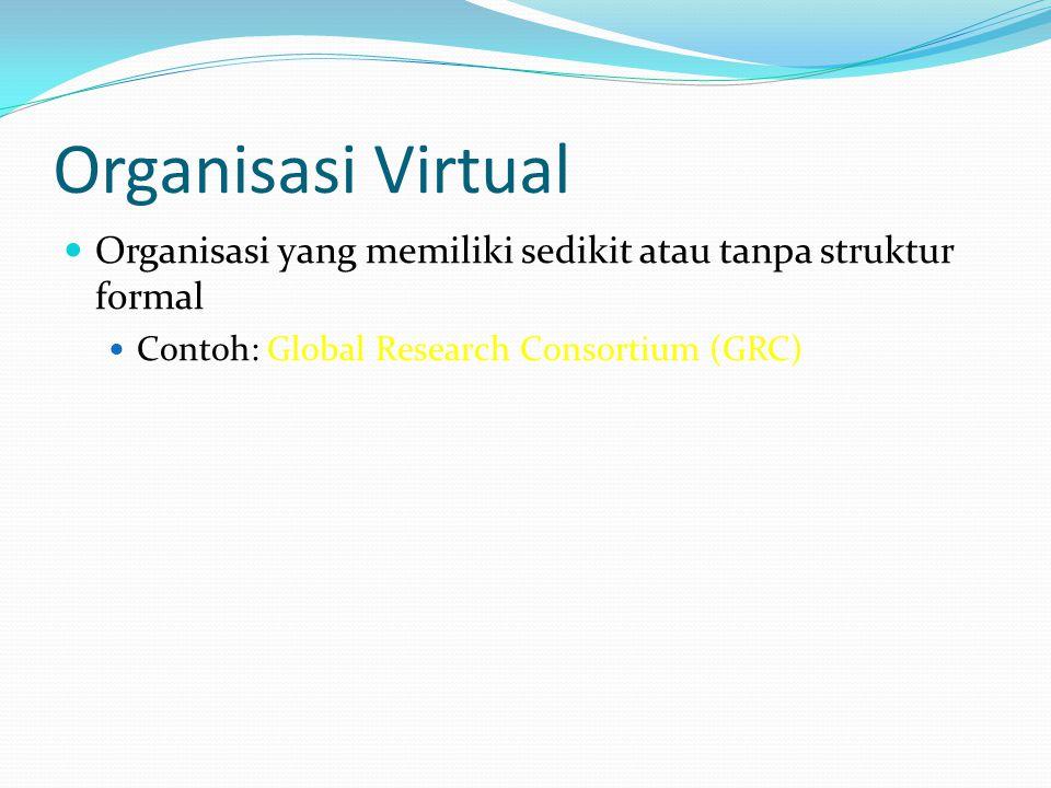 Organisasi Virtual  Organisasi yang memiliki sedikit atau tanpa struktur formal  Contoh: Global Research Consortium (GRC)