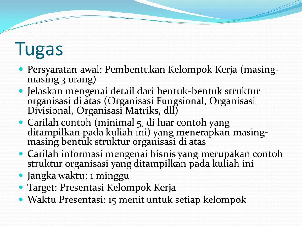 Tugas  Persyaratan awal: Pembentukan Kelompok Kerja (masing- masing 3 orang)  Jelaskan mengenai detail dari bentuk-bentuk struktur organisasi di ata