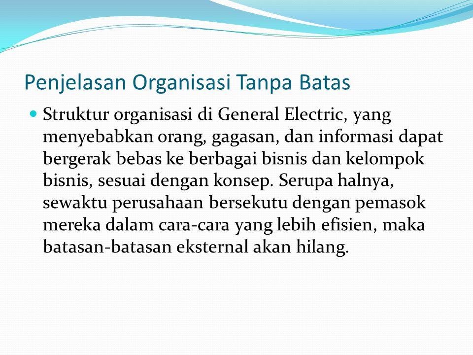 Penjelasan Organisasi Tanpa Batas  Struktur organisasi di General Electric, yang menyebabkan orang, gagasan, dan informasi dapat bergerak bebas ke be