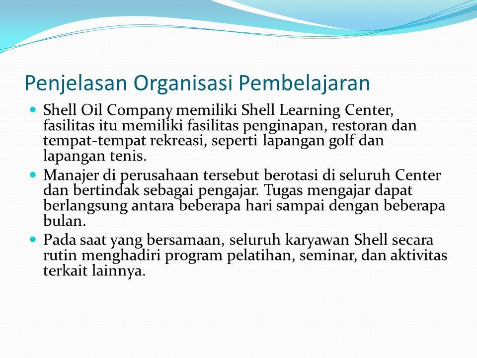 Penjelasan Organisasi Pembelajaran  Shell Oil Company memiliki Shell Learning Center, fasilitas itu memiliki fasilitas penginapan, restoran dan tempa