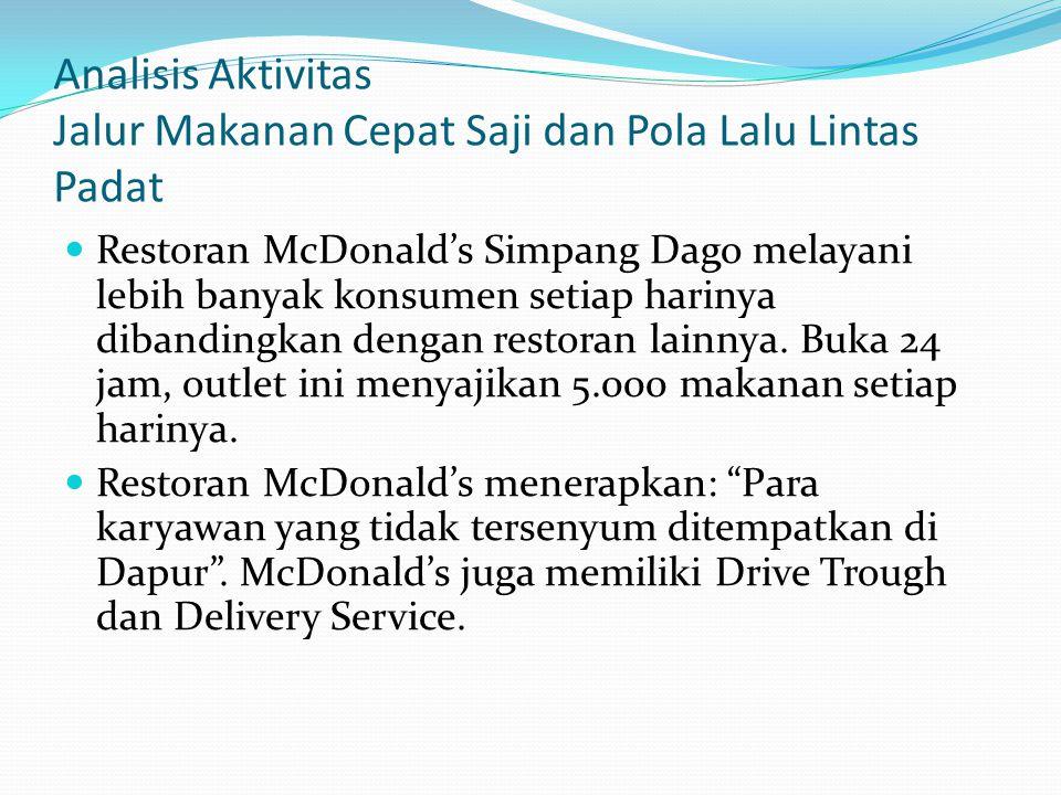 Analisis Aktivitas Jalur Makanan Cepat Saji dan Pola Lalu Lintas Padat  Restoran McDonald's Simpang Dago melayani lebih banyak konsumen setiap hariny