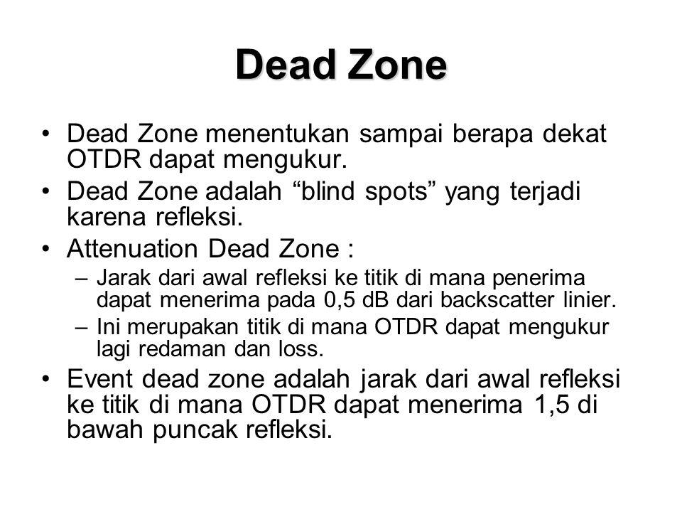 """Dead Zone •Dead Zone menentukan sampai berapa dekat OTDR dapat mengukur. •Dead Zone adalah """"blind spots"""" yang terjadi karena refleksi. •Attenuation De"""
