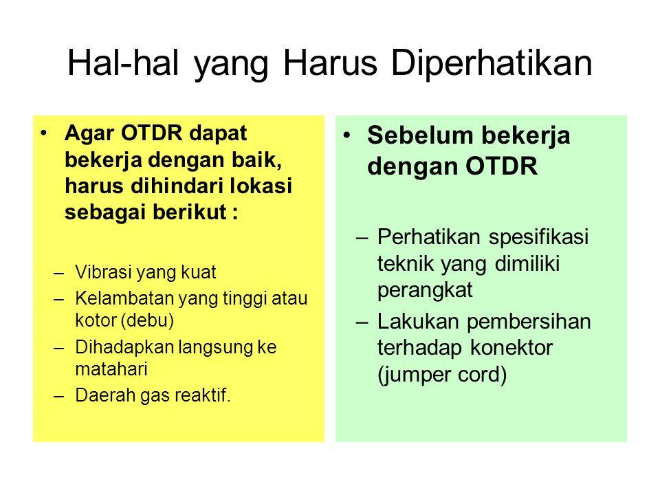 Hal-hal yang Harus Diperhatikan •Agar OTDR dapat bekerja dengan baik, harus dihindari lokasi sebagai berikut : –Vibrasi yang kuat –Kelambatan yang tin