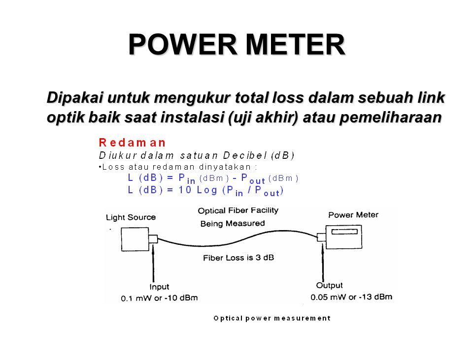 POWER METER Dipakai untuk mengukur total loss dalam sebuah link optik baik saat instalasi (uji akhir) atau pemeliharaan
