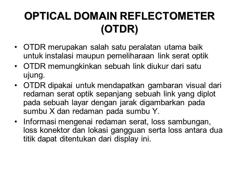 OPTICAL DOMAIN REFLECTOMETER (OTDR) •OTDR merupakan salah satu peralatan utama baik untuk instalasi maupun pemeliharaan link serat optik •OTDR memungk