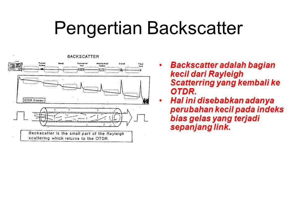 Pengertian Backscatter •Backscatter adalah bagian kecil dari Rayleigh Scatterring yang kembali ke OTDR. •Hal ini disebabkan adanya perubahan kecil pad