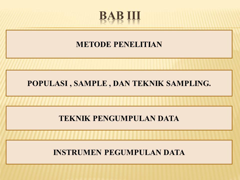 METODE PENELITIAN POPULASI, SAMPLE, DAN TEKNIK SAMPLING. TEKNIK PENGUMPULAN DATA INSTRUMEN PEGUMPULAN DATA