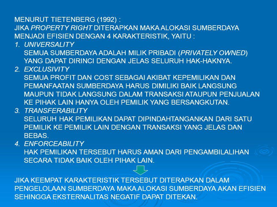 MENURUT TIETENBERG (1992) : JIKA PROPERTY RIGHT DITERAPKAN MAKA ALOKASI SUMBERDAYA MENJADI EFISIEN DENGAN 4 KARAKTERISTIK, YAITU : 1. UNIVERSALITY SEM