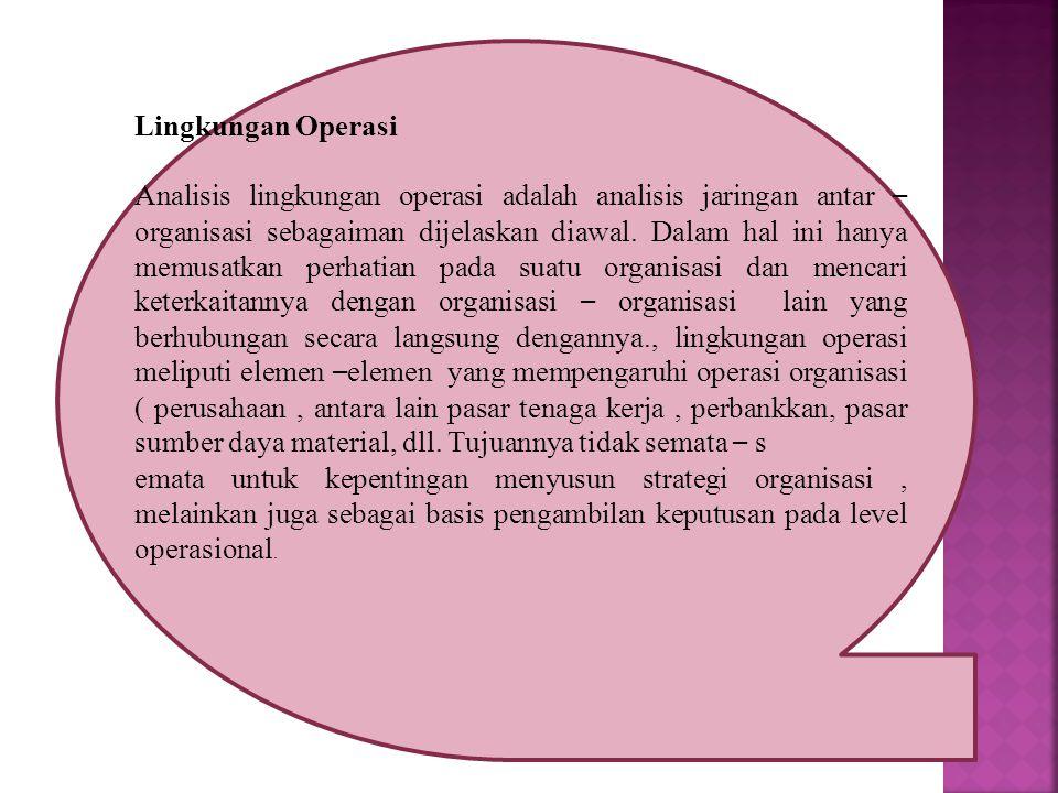 Lingkungan Operasi Analisis lingkungan operasi adalah analisis jaringan antar – organisasi sebagaiman dijelaskan diawal.