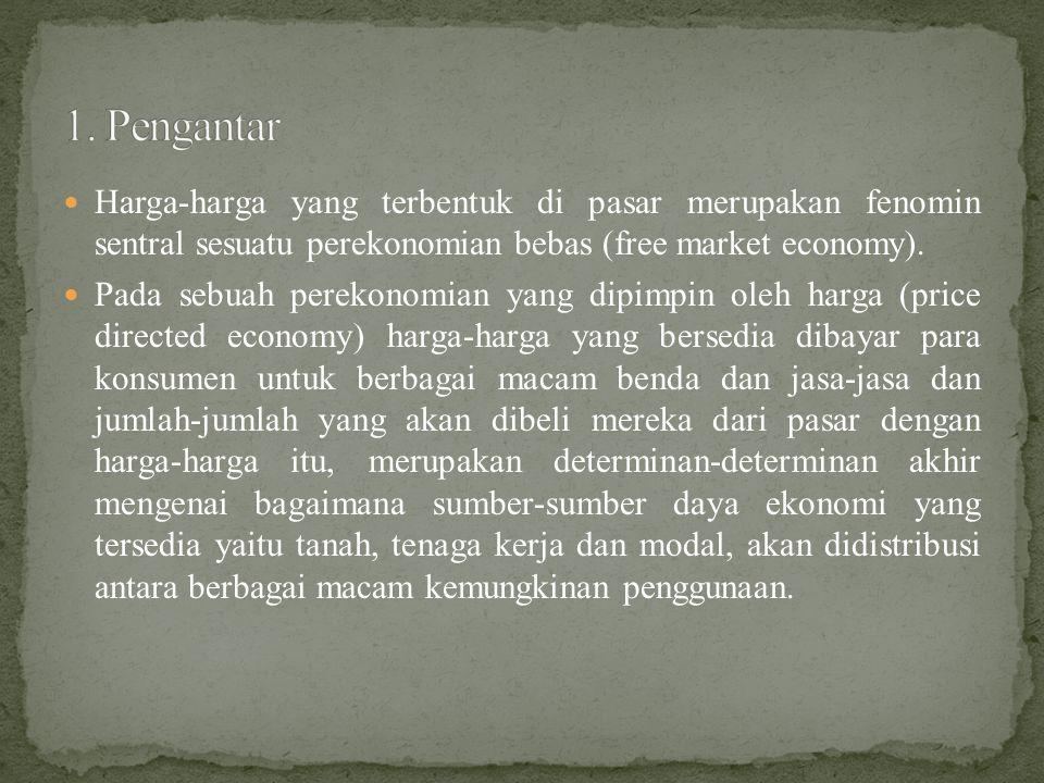  Harga-harga yang terbentuk di pasar merupakan fenomin sentral sesuatu perekonomian bebas (free market economy).