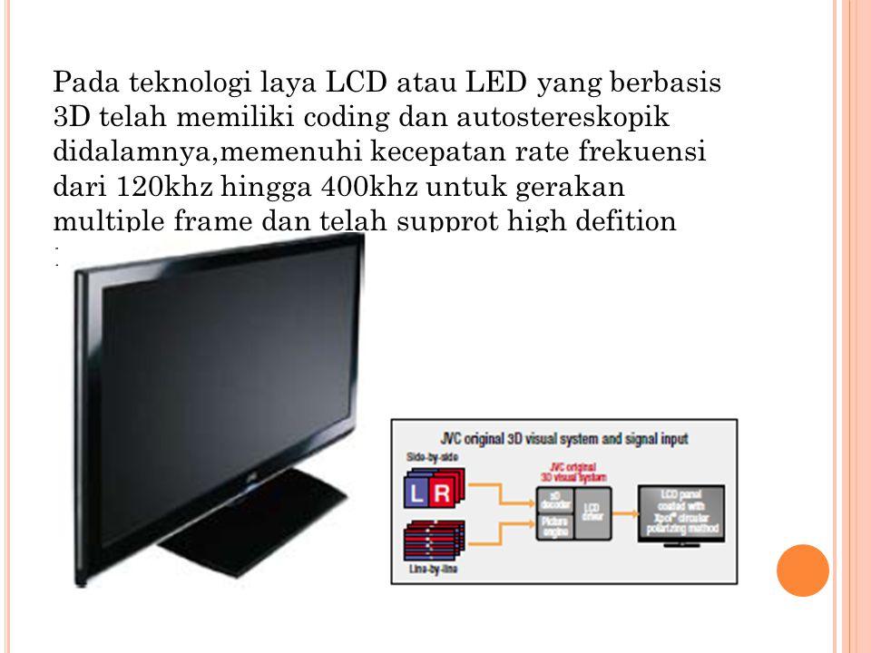 Pada teknologi laya LCD atau LED yang berbasis 3D telah memiliki coding dan autostereskopik didalamnya,memenuhi kecepatan rate frekuensi dari 120khz hingga 400khz untuk gerakan multiple frame dan telah supprot high defition 1080p.