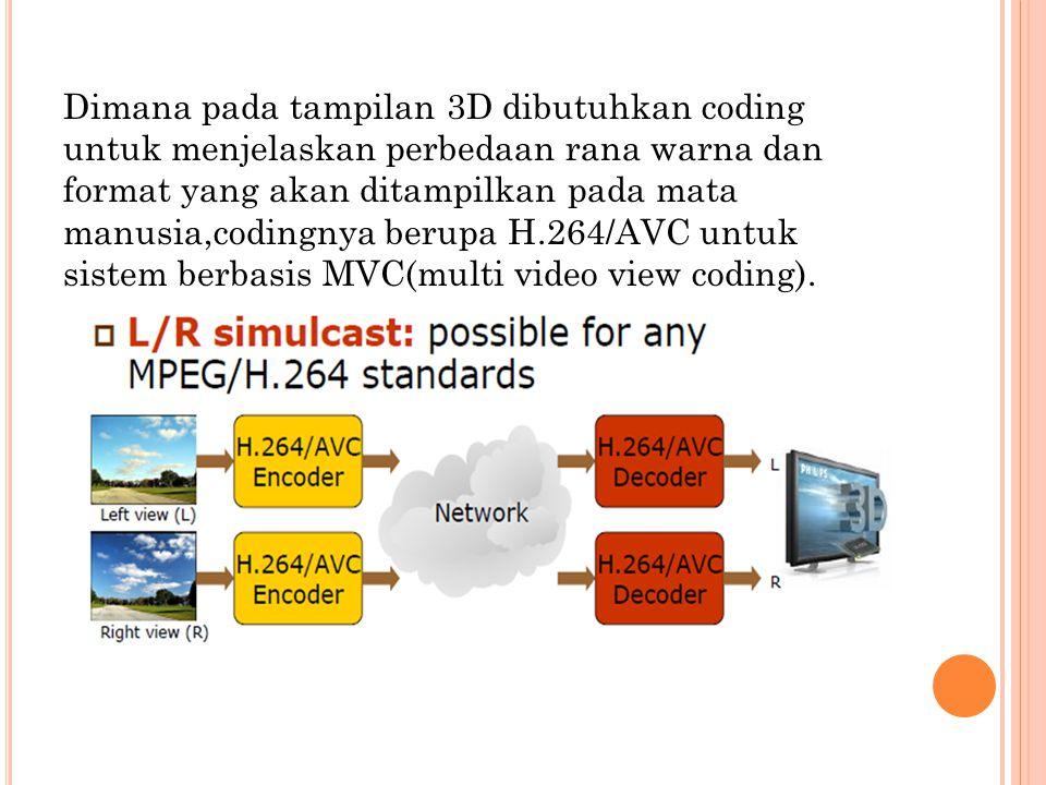 Dimana pada tampilan 3D dibutuhkan coding untuk menjelaskan perbedaan rana warna dan format yang akan ditampilkan pada mata manusia,codingnya berupa H.264/AVC untuk sistem berbasis MVC(multi video view coding).