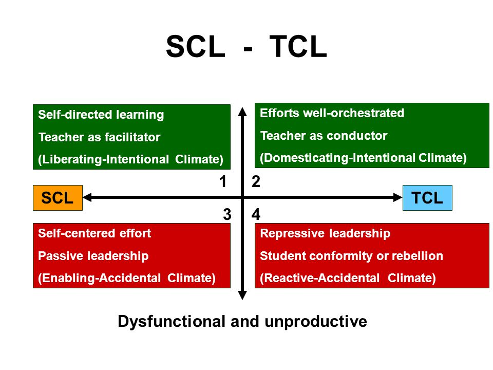 SCL - TCL 12 43 SCLTCL Dysfunctional and unproductive Efforts well-orchestrated Teacher as conductor (Domesticating-Intentional Climate) Repressive leadership Student conformity or rebellion (Reactive-Accidental Climate) Self-centered effort Passive leadership (Enabling-Accidental Climate) Self-directed learning Teacher as facilitator (Liberating-Intentional Climate)