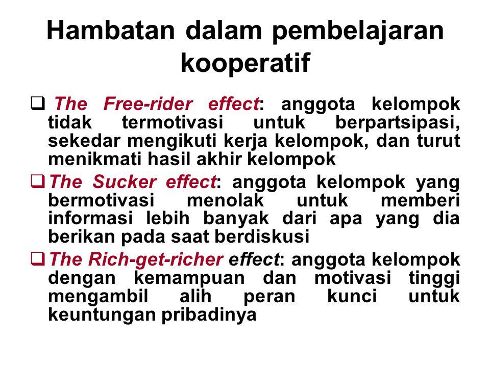Hambatan dalam pembelajaran kooperatif  The Free-rider effect: anggota kelompok tidak termotivasi untuk berpartsipasi, sekedar mengikuti kerja kelomp