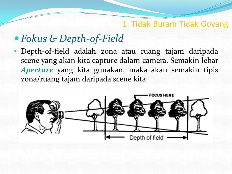 1. Tidak Buram Tidak Goyang  Fokus & Depth-of-Field • Depth-of-field adalah zona atau ruang tajam daripada scene yang akan kita capture dalam camera.
