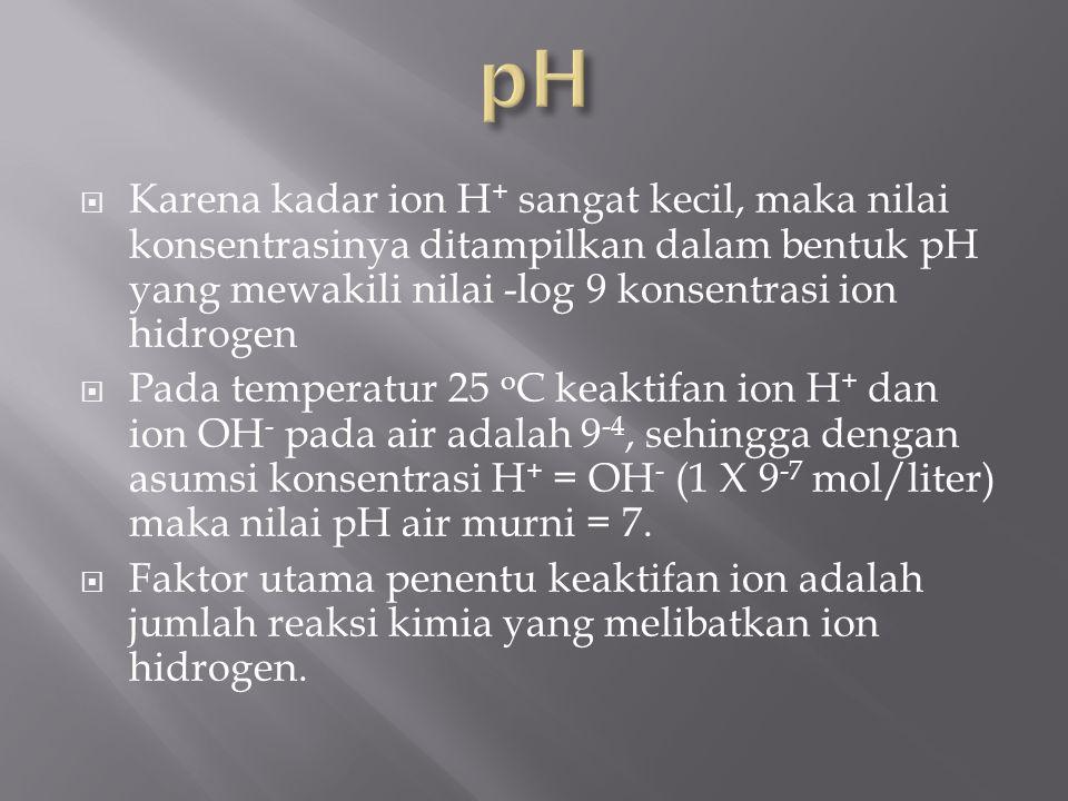  Karena kadar ion H + sangat kecil, maka nilai konsentrasinya ditampilkan dalam bentuk pH yang mewakili nilai ‑ log 9 konsentrasi ion hidrogen  Pada