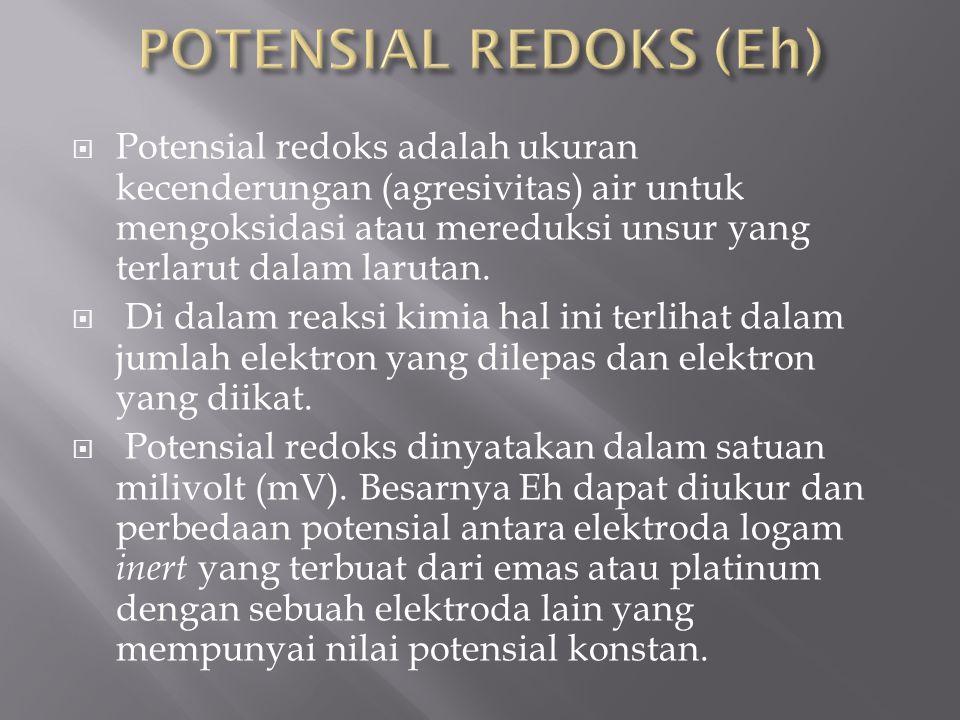  Potensial redoks adalah ukuran kecenderungan (agresivitas) air untuk mengoksidasi atau mereduksi unsur yang terlarut dalam larutan.  Di dalam reaks