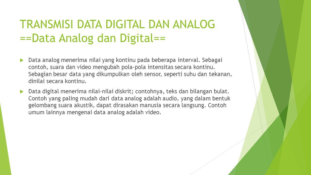 TRANSMISI DATA DIGITAL DAN ANALOG ==Data Analog dan Digital==  Data analog menerima nilai yang kontinu pada beberapa interval. Sebagai contoh, suara