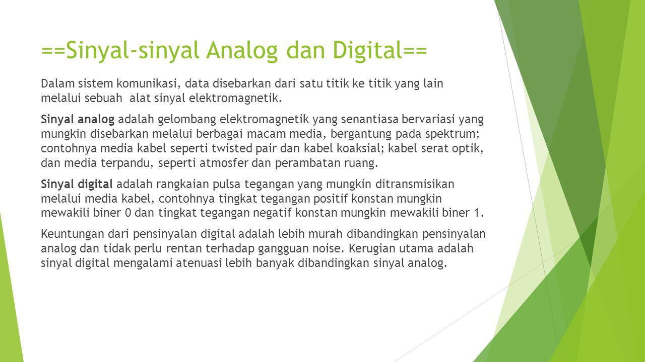 ==Sinyal-sinyal Analog dan Digital== Dalam sistem komunikasi, data disebarkan dari satu titik ke titik yang lain melalui sebuah alat sinyal elektromag