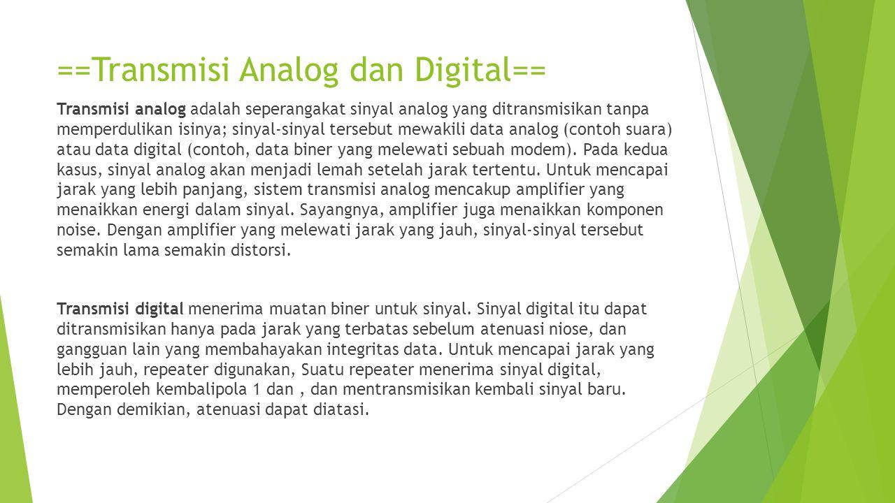 ==Transmisi Analog dan Digital== Transmisi analog adalah seperangakat sinyal analog yang ditransmisikan tanpa memperdulikan isinya; sinyal-sinyal ters
