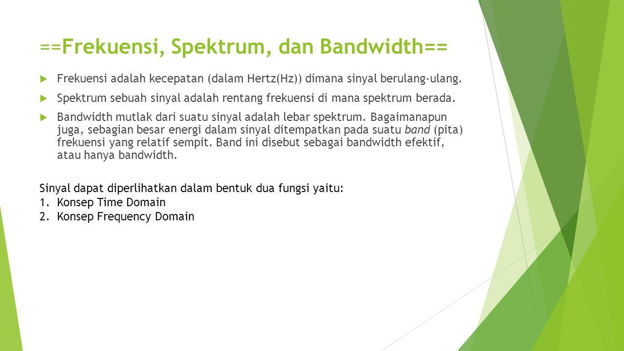 ==Frekuensi, Spektrum, dan Bandwidth==  Frekuensi adalah kecepatan (dalam Hertz(Hz)) dimana sinyal berulang-ulang.  Spektrum sebuah sinyal adalah re