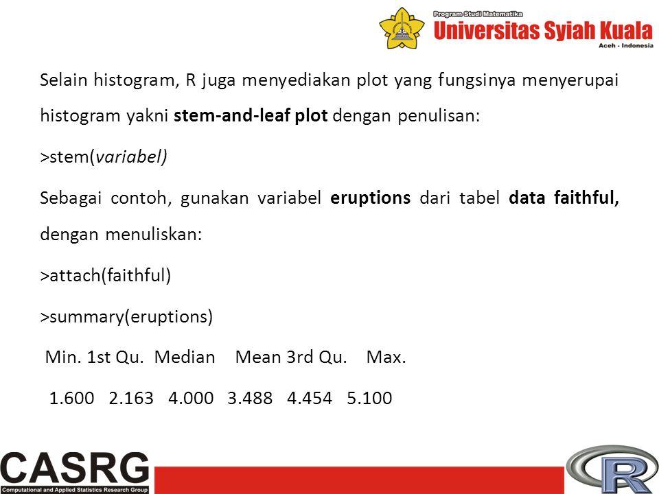 Selain histogram, R juga menyediakan plot yang fungsinya menyerupai histogram yakni stem-and-leaf plot dengan penulisan: >stem(variabel) Sebagai contoh, gunakan variabel eruptions dari tabel data faithful, dengan menuliskan: >attach(faithful) >summary(eruptions) Min.