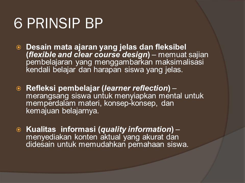 6 PRINSIP BP  Individualisasi (individualization) – adaptabilitas bagi kebutuhan belajar siswa secara individual.