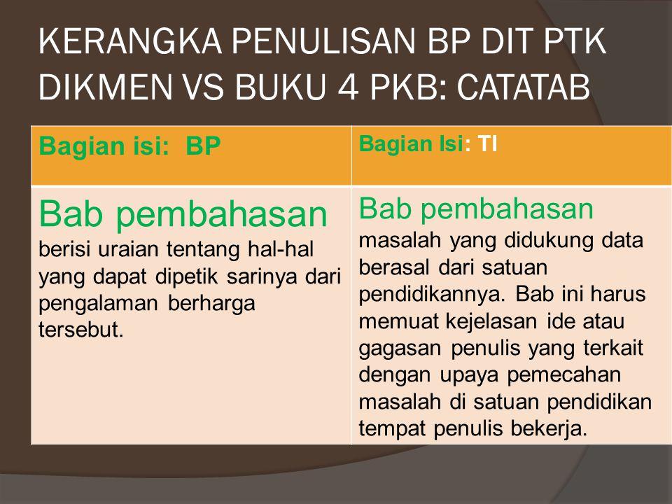 KERANGKA PENULISAN BP DIT PTK DIKMEN VS BUKU 4 PKB Bagian Isi: BP Bagian Isi: TI a.Bab Pendahuluan menjelaskan latar belakang, permasalahan, tujuan, dan manfaat.
