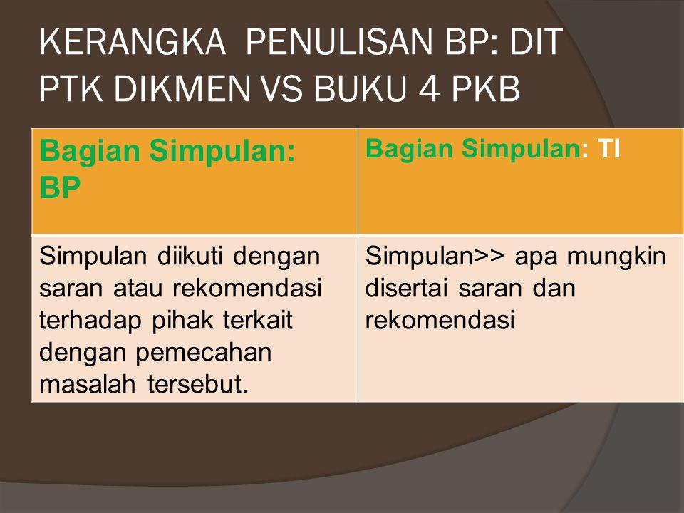 KERANGKA PENULISAN BP DIT PTK DIKMEN VS BUKU 4 PKB: CATATAB Bagian isi: BP Bagian Isi: TI Bab pembahasan berisi uraian tentang hal-hal yang dapat dipetik sarinya dari pengalaman berharga tersebut.