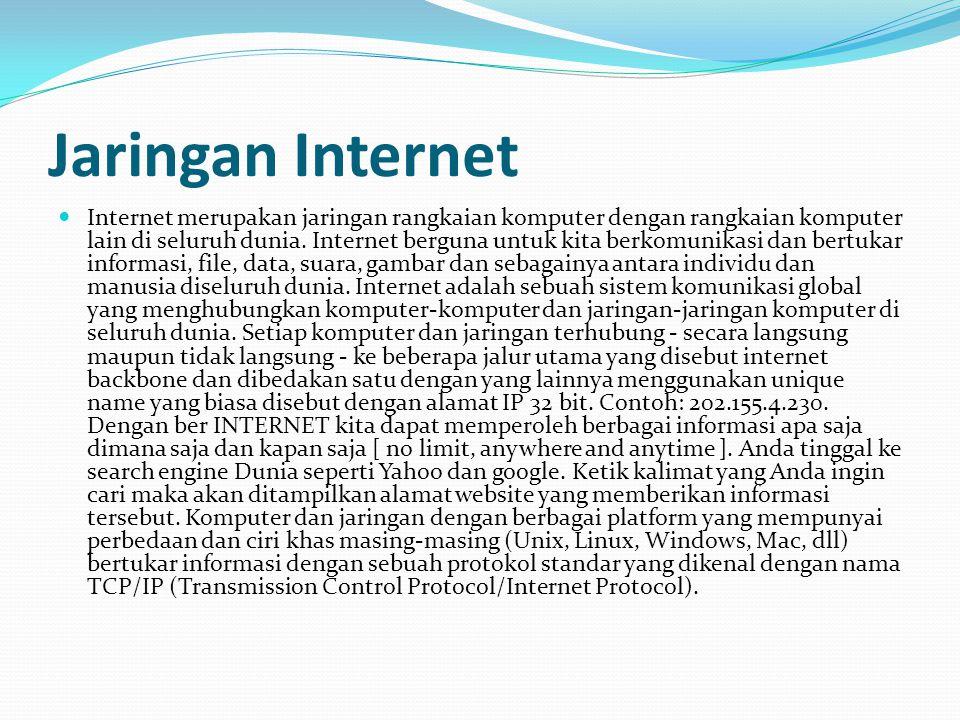 STANDAR KOMPETENSI : Memahami dasar-dasar penggunaan internet dan intranet. KOMPETENSI DASAR : Memahami dasar-dasar sistem jaringan di Internet/Intran