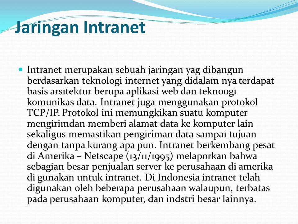 Komponen pembentuk intranet  Komponen pembentuk intranet pada dasarnya sama dengan komponen pembentuk internet, seperti:  aplikasi browser ( interne